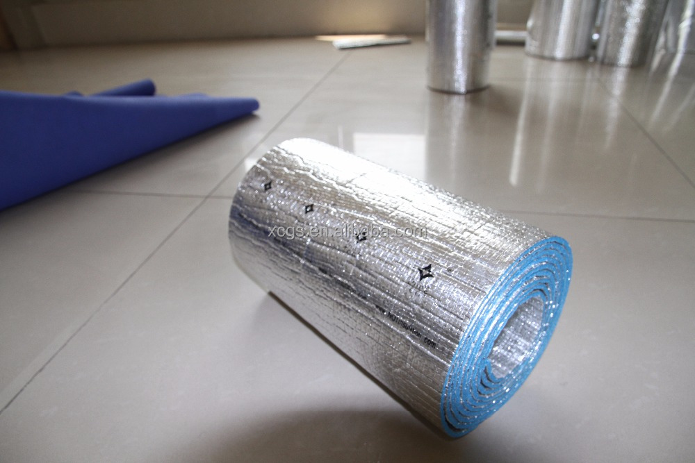 Double sided aluminum foil blue xpe foam printing thermal insulation flooring underlay