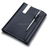 New type business high quality PU leather A5 custom writing pads notebook with card holder