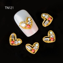 10pcs Golden Metal Heart Rhinestones 3d Nail Art Decorations, Alloy Nail Stcikers Charms Jewelry for Nail Gel/Polish Tools TN121