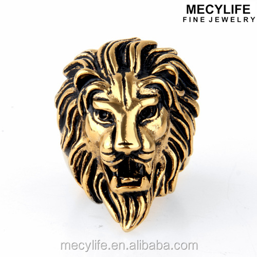 MECYLIFE Personalized Stainless Steel Gold Lion Head Ring