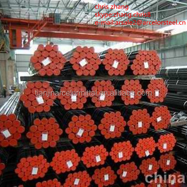 high quality ERW black round welded carbon steel pipe threaded with coupling or a cap