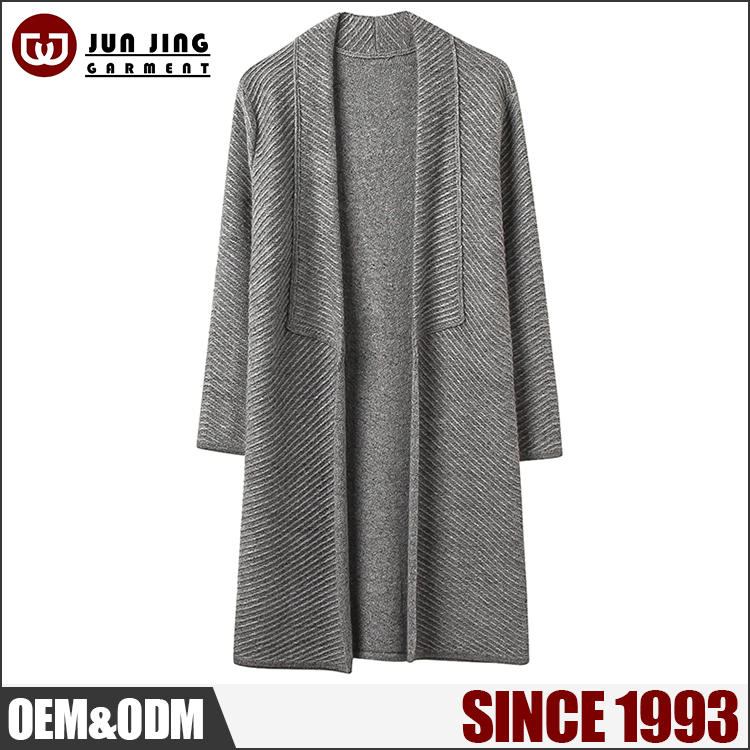 Factory price Ladies sweater/ Cardigan Series grey color Cashmere /Wool long ladies sweater coat