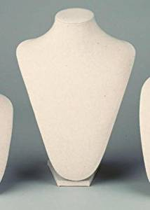 Large Cream Linen Table Top Bust Mannequin Jewelry Display Retail Store
