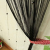 Black Door Window Decorative String Curtain with Strip Drape Tassel