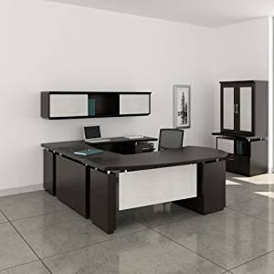 "Mayline 72"" L-Shaped Desk W/Wall Mount Hutch Desk: 72""W X 108""D X 29.5""H Wall Mount Hutch: 72""W X 16.5""D X 16.5""H 1 5/8"" W/Knife Edge Detail - Textured Mocha - Bridge on Left (Right Shown )"