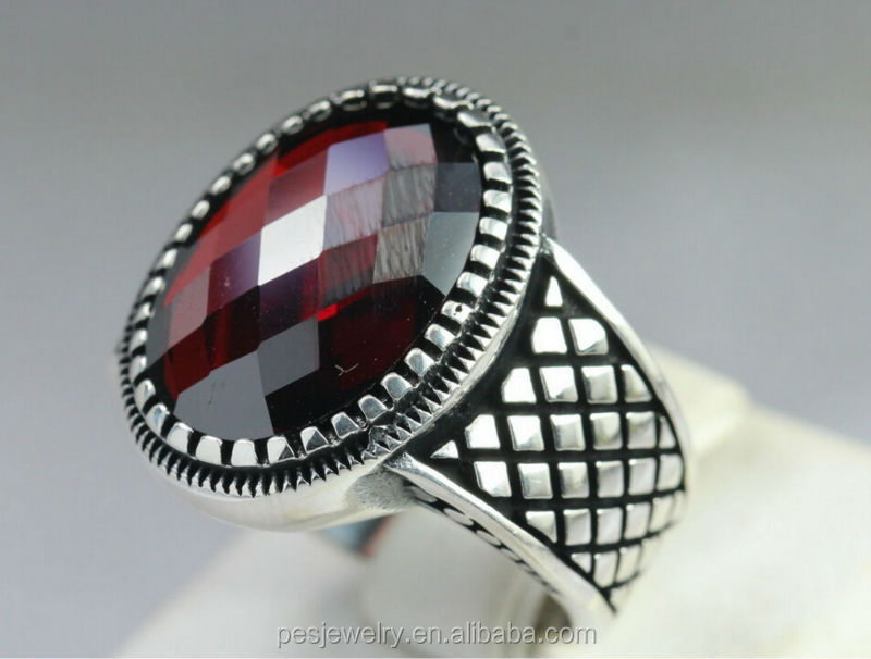 fashion design Sterling Silver 925 Turkish red Garnet Stone men ...