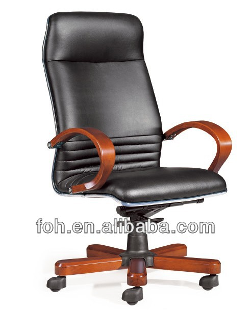 Genuine leather executive boss revolving chair with solid wood armrests(FOH-B-38-1)