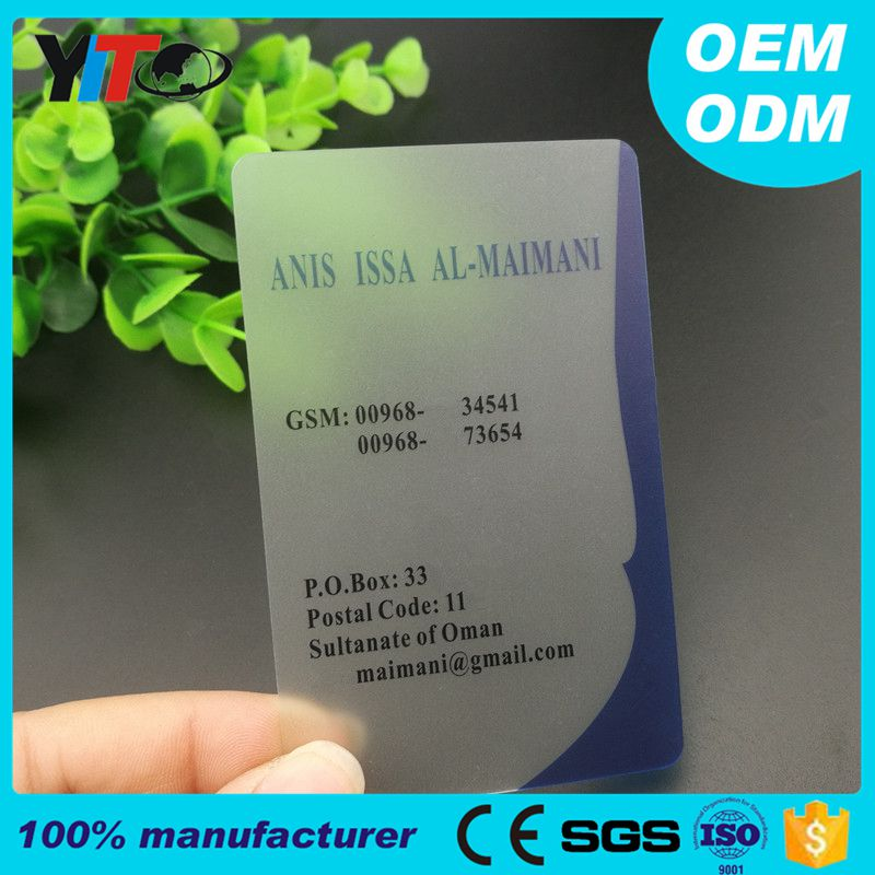 Custom High Quality Security Inkjet Printable Transparent Clear Plastic PVC Cards