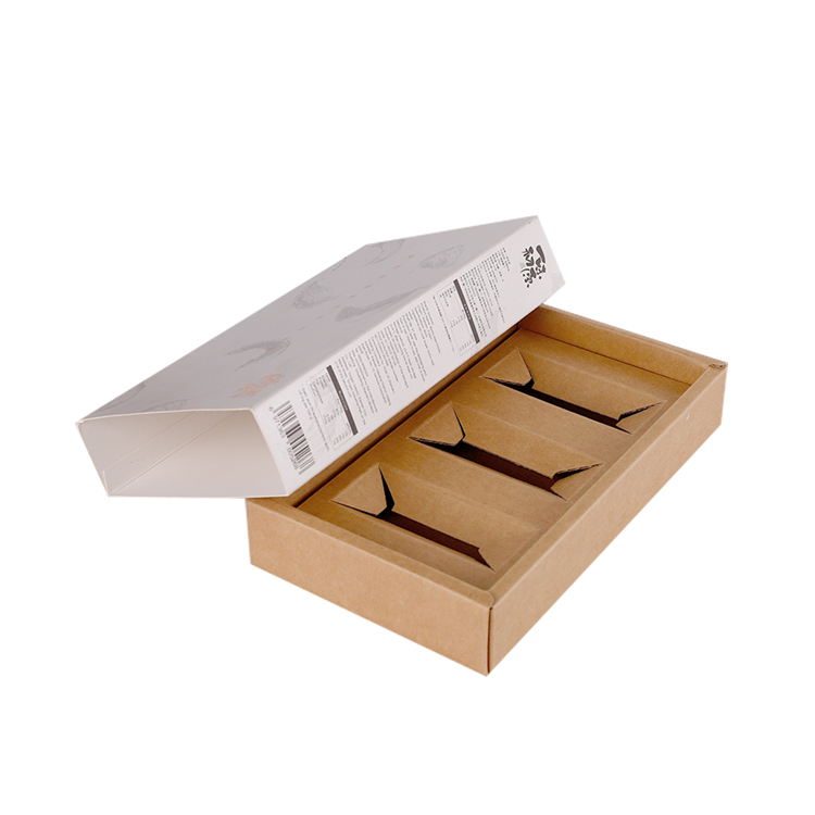 High quality custom logo sliding brown kraft paper oem gift  box packaging with paper divider