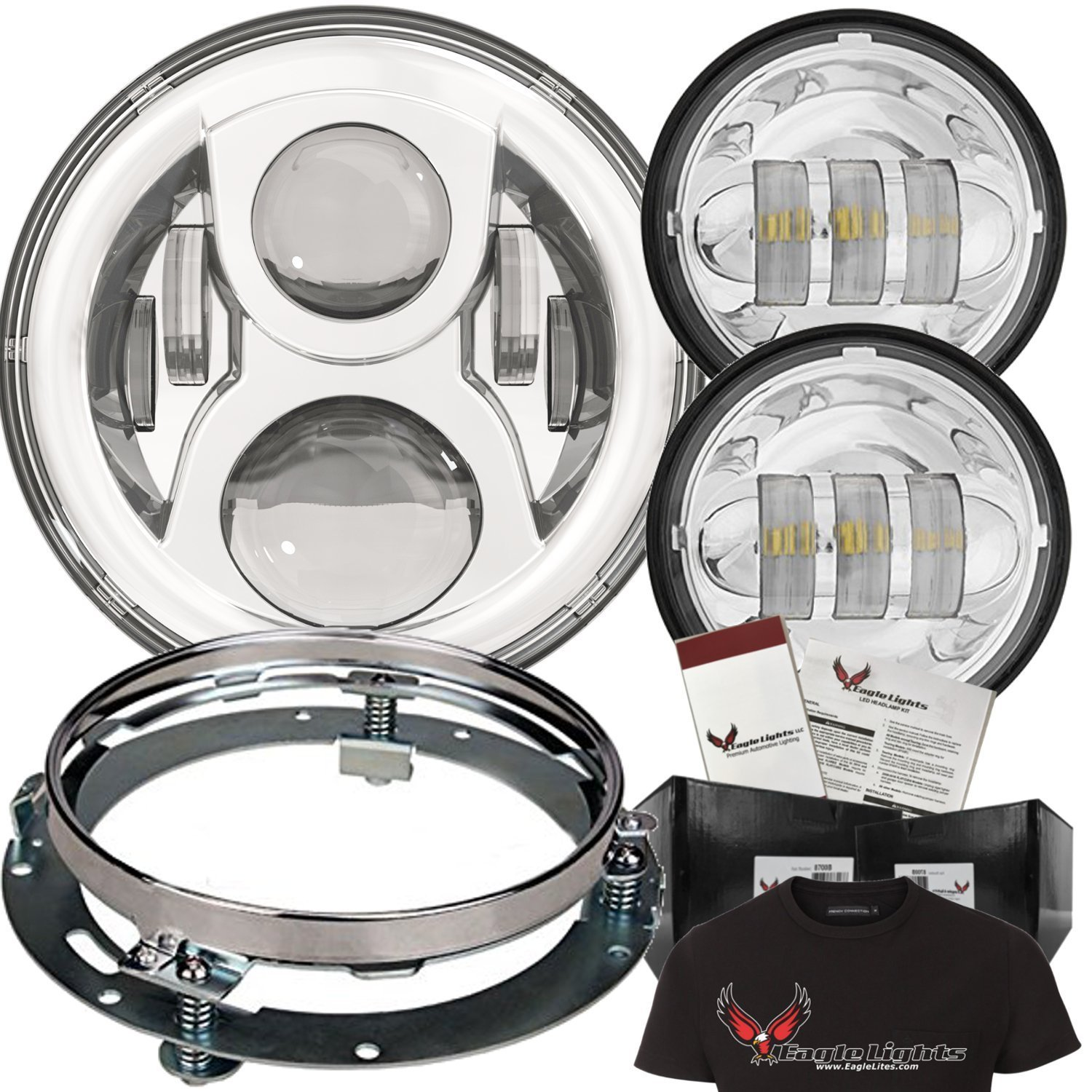 """Eagle Lights 7"""" Round LED Headlight Kit 8700G2 Gen 2 Daymaker with Matching Passing Lamps & Adapter Ring (Chrome)"""