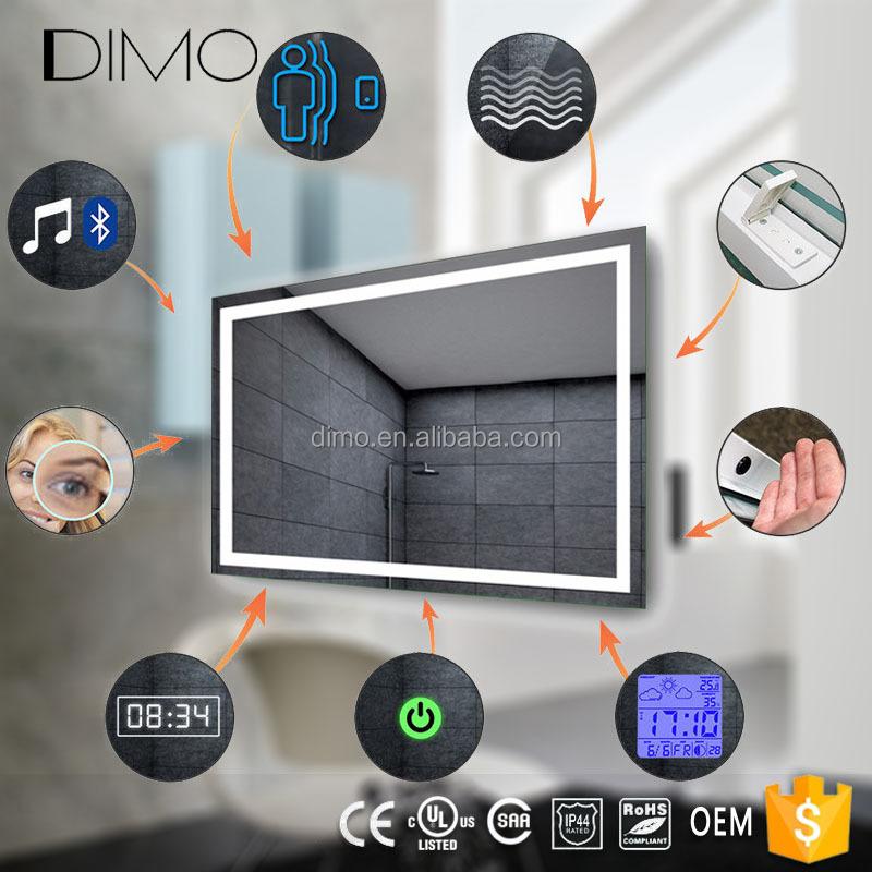 LED lumineux salle de bains écran tactile intelligent miroir prix avec  Bluetooth/radio/horloge/température