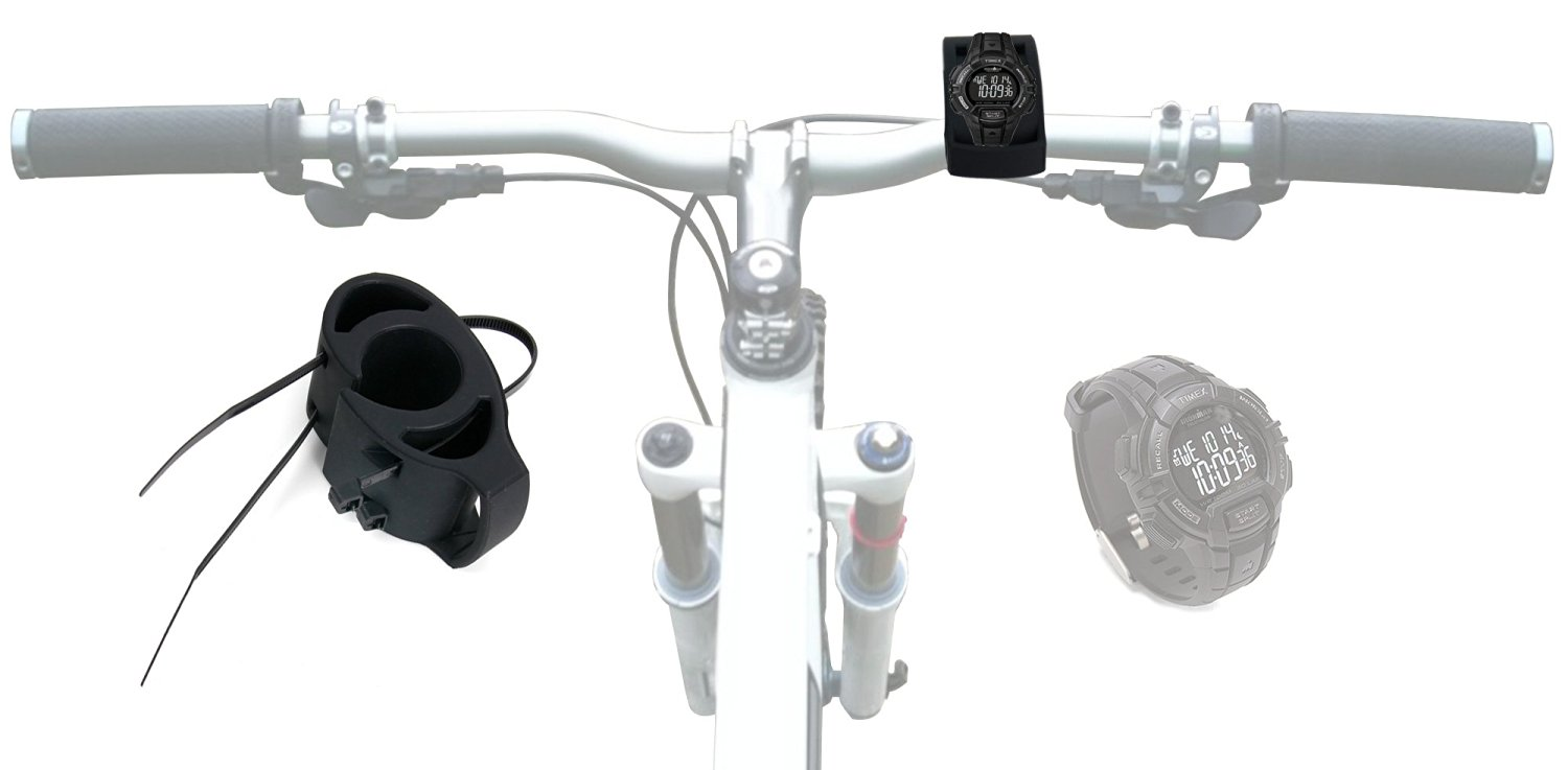 DURAGADGET Black Bicycle Handlebar Mount Kit for Timex Fitness Multi-Sport Timer Watch - Secured with Strong Cable Ties