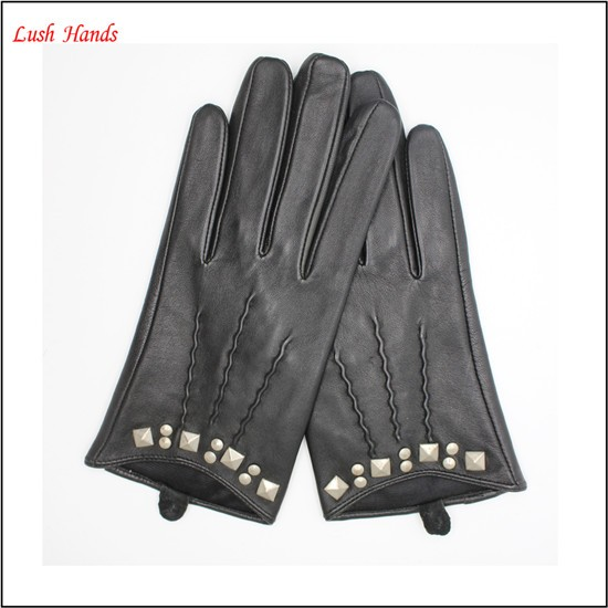 2017 ladies black driving leather gloves with manufactory price