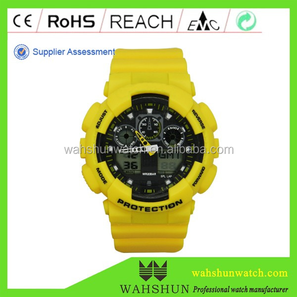 Sport style Mens Plastic Chronograph double movmt men Sport watch chronograph For Sports