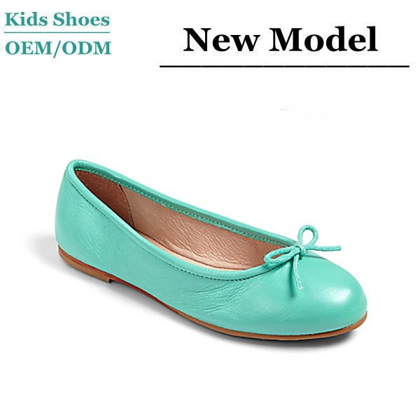 Factory Custom Name Brand Kids Shoes Green Leather Ballet Shoes ...