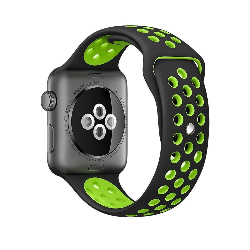 Nike Sports Band for Apple iWatch, Fit to Series 1 and Series 2, Soft Comfortable Silicone, Nike Series, 42mm, Sporty Style, Black and Green