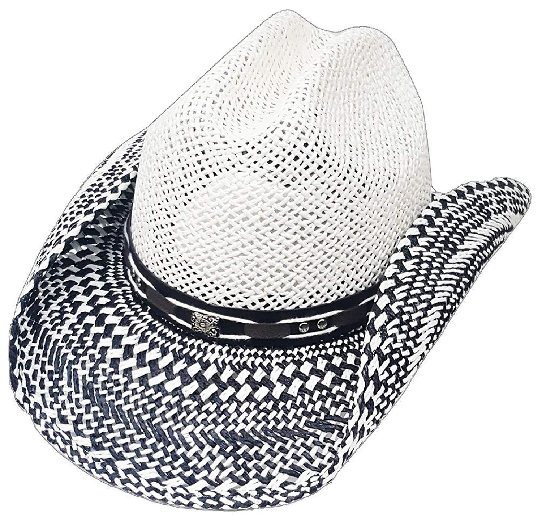 65d4091f Buy Modestone Straw Cowboy Hat Breezer Metal Concho Studs Hatband ...