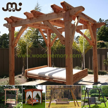 Vintage Deluxe Square Outdoor Wood Garden Pergola Swing