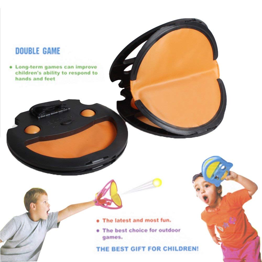 Paddle Catch Toss and Catch Ball Game Set! Indoor outdoor Games Family Beach Games For Kids and Children and Adults. Pingpong Game for Single and For Partners 4balls with 2 paddles