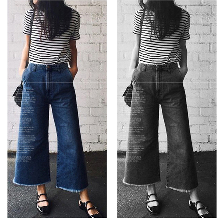 Pants & Capris Trustful L-5xl Plus Size Casual Women Wide Leg Pants 2019 Summer Fashion Denim Ankle Length Pants Extra Large Loose Pants Hot Sale Comfortable Feel Women's Clothing