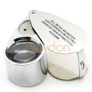 OEM Support 40X Zoom LED Microscope Magnifier Jewellers 2 in 1 Pocket Size UV LED Magnifier