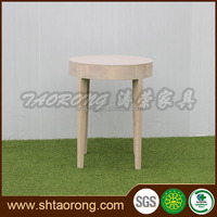 Small round white solid wood coffee table for bedroom
