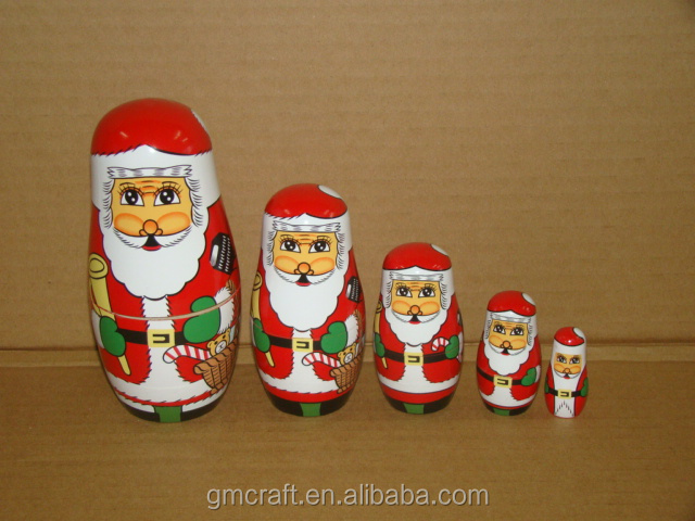 High quality handcrafts christmas wooden santa doll