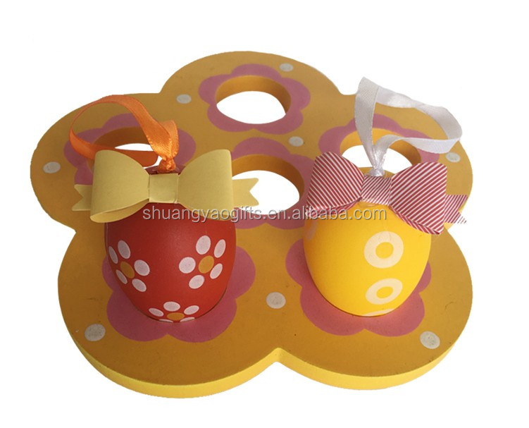 Beautiful plastic egg with paper bowknot easter hanging ornament