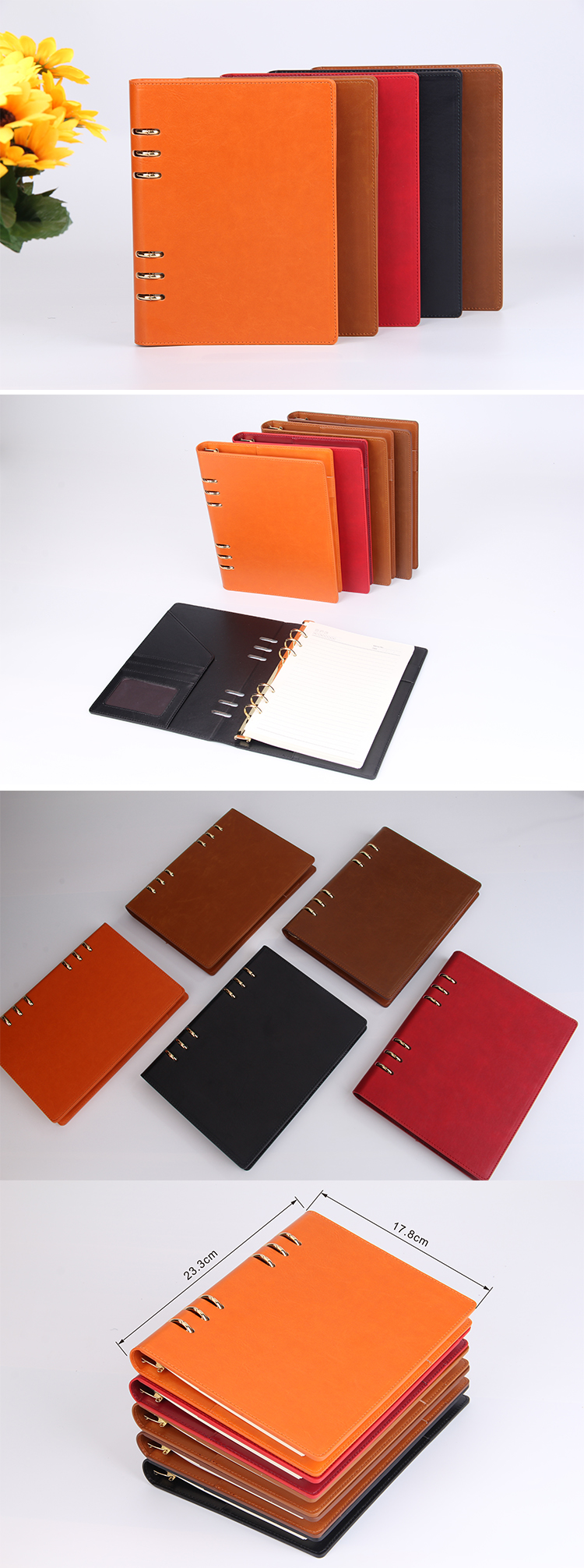 loose leaf PU leather notebook custom made LOGO diary manufacturer yellow paper in stock journal