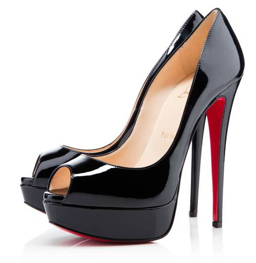 d01f5981766 Get Quotations · 14cm peep toe black patent pumps daffodile high heels Red  Bottom shoes Genuine leather Platform 3.5