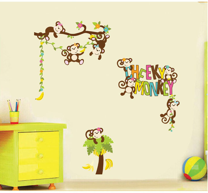 wall stickers decals cute cheeky monkey  baby room wallsticker for home decor