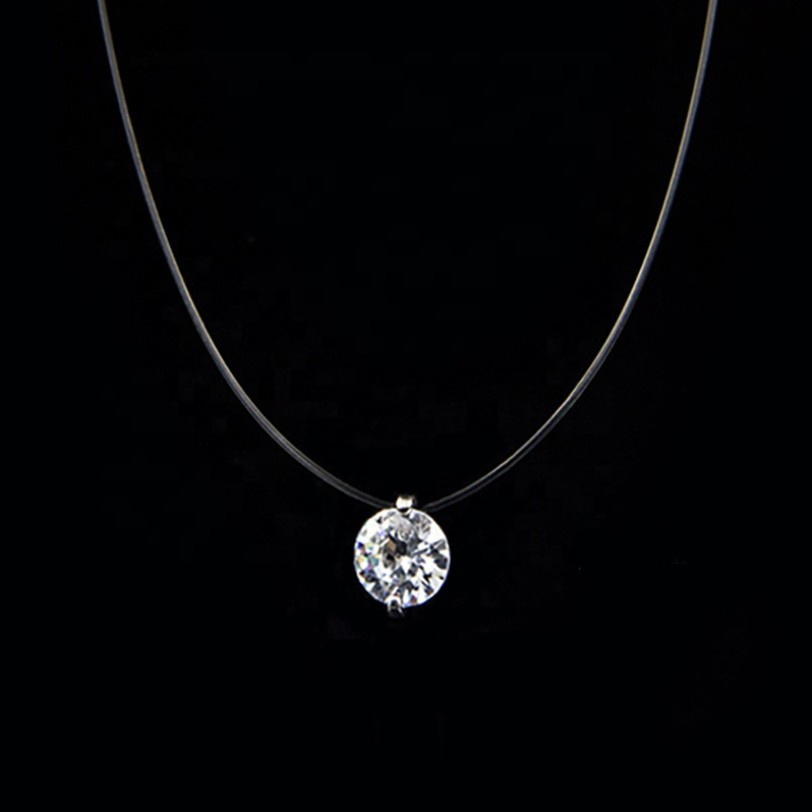 China Factory Simple Zircon cz Stone Pendant Jewelry Black Cord Crystal Necklace