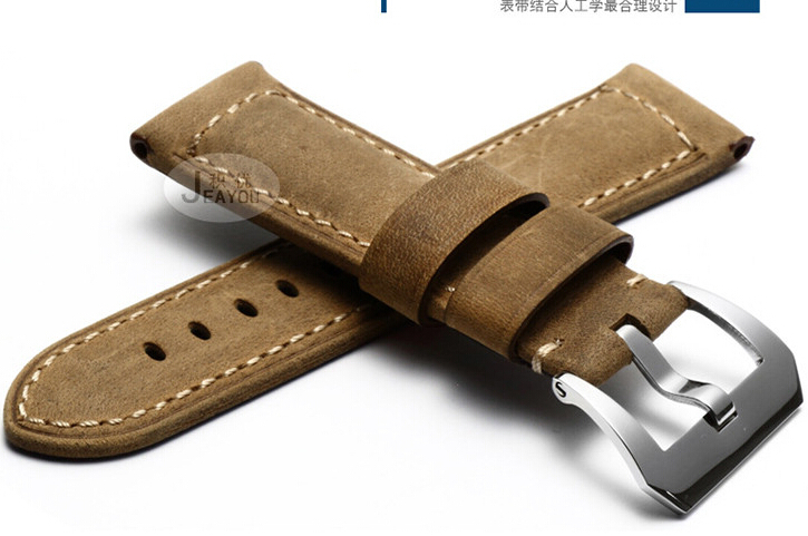 Handmade Leather Strap, A++ Calfskin Watch Band, 24MM High Quality Men's Watchbands, Fast Delivery
