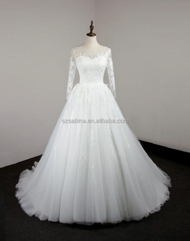 2017 long sleeve sweetheart lace ball gown wedding dress with real photos