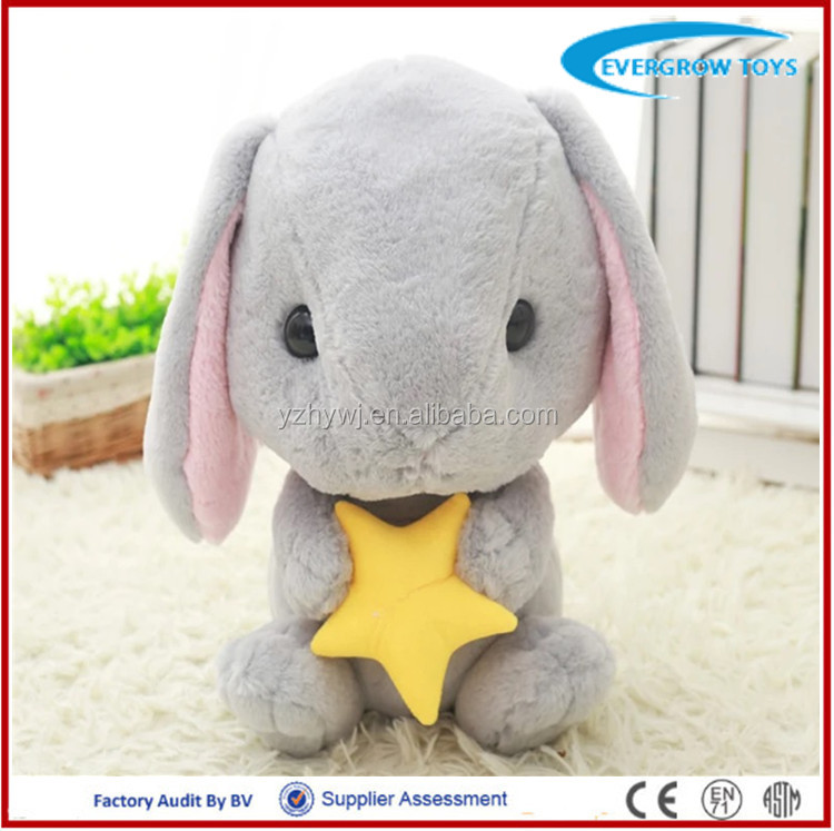 2016 hot small soft stuffed star plush grey rabbit