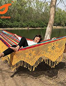 BO SWIFT Outdoor? 100% Cotton 360 LX165Wcm Canvas outdoor Double Person Portable Tassel Hammock Stripe Fringe Hammock