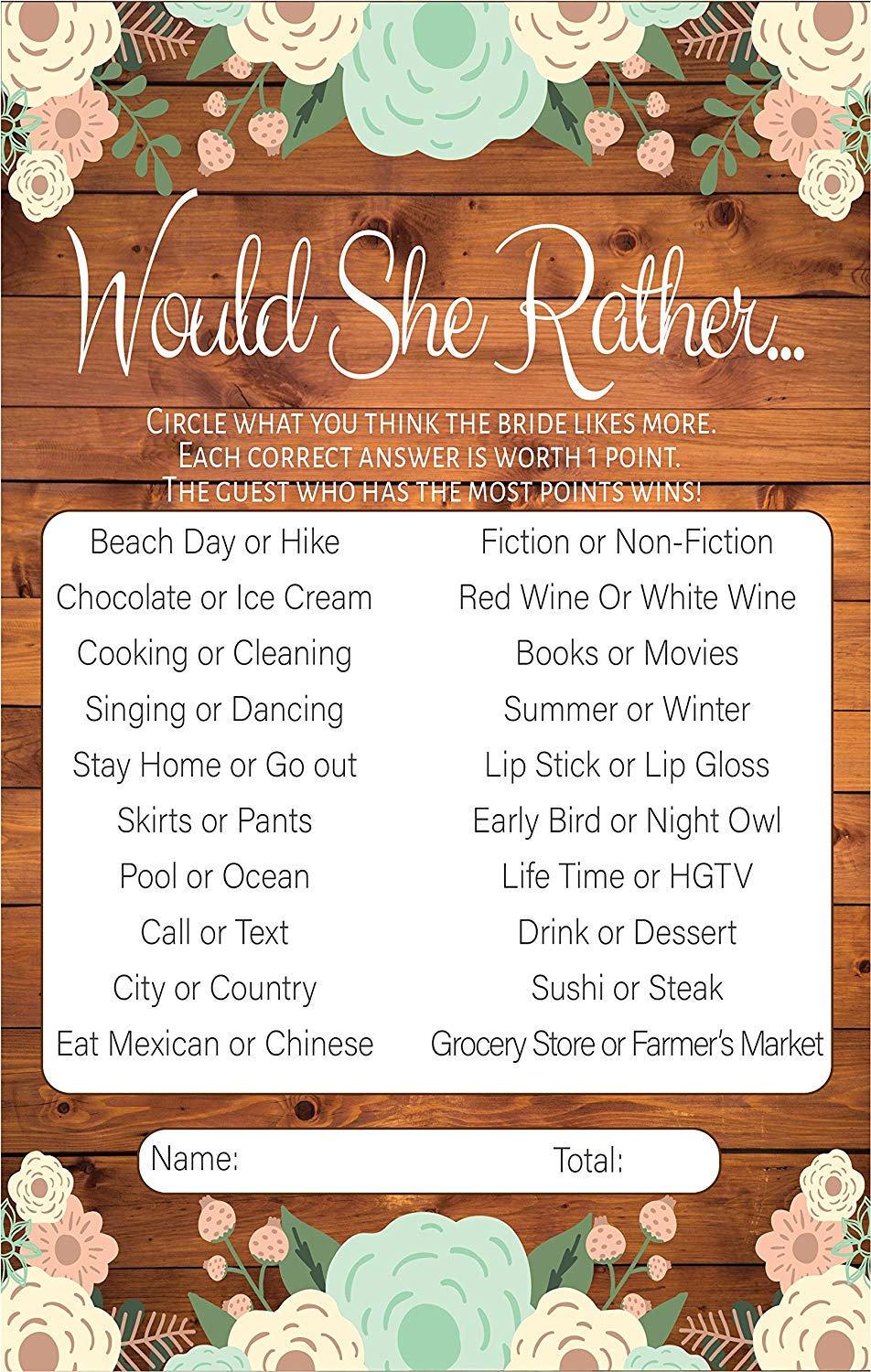 would she rather rustic bridal shower games premium card stock bride game cards bridal