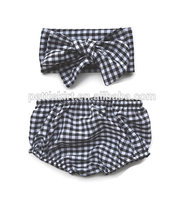 Hot Selling Baby Cotton Chevron Panties Girl Ruffle Bloomer With Headband
