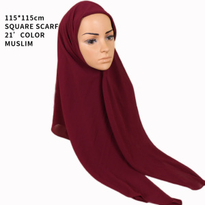 New design 115*115cm square islamic muslim scarf women hijab plain bubble chiffon hijab