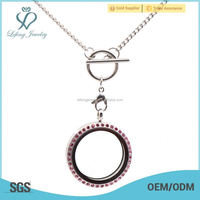 Chian factory direct price 316l silver stainless steel hollow toggle clasp necklace , no locket