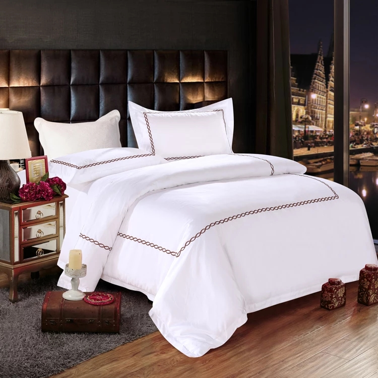 King Size 100% Cotton 200tc Embroidery Hotel Bedding Set Bed Linen
