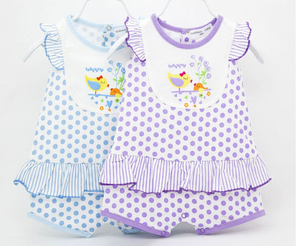 Free Shipping 2015 Summer New Style Cute Baby Girls Clothes Dots Striped Body Suits Sleeveless Romper 100%Cotton Baby Clothing