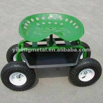 Agricultural Tractor Seat Rolling Garden Seat On Wheels With Tool