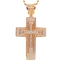 18K gold three layer cross pendant necklace hip hop bling jewelry wholesale