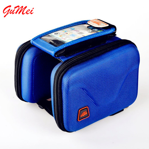 Water Resistant Bike Bag With Mobile Phone Screen Touch Holder Bicycle Saddle Bag Shockproof Top Tube Frame Bag