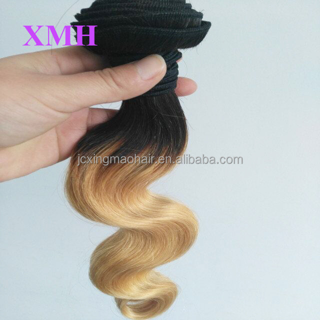 Grade 8A Brazilian Virgin Hair Body Wave Two Tone Ombre Hair Extensions #1b/27 blonde ombre hair