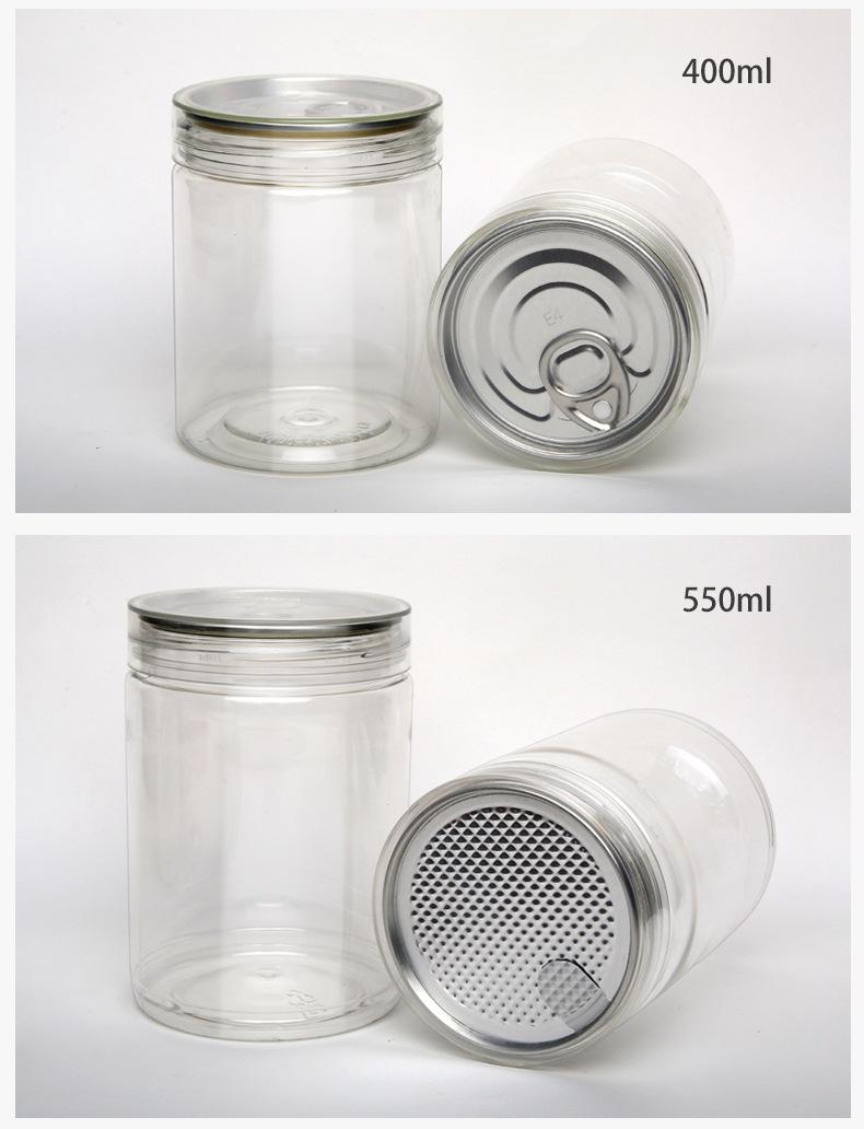 De aluminio de 690ml fácil de tirar tapa de galletas clara tarro de caramelo de grado de alimentos de plástico transparente PET tarro para nueces