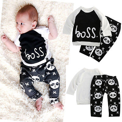 Baby Boys Girl T shirt Pants Panda Leggings Two piece Outfits Set Casual Clothes