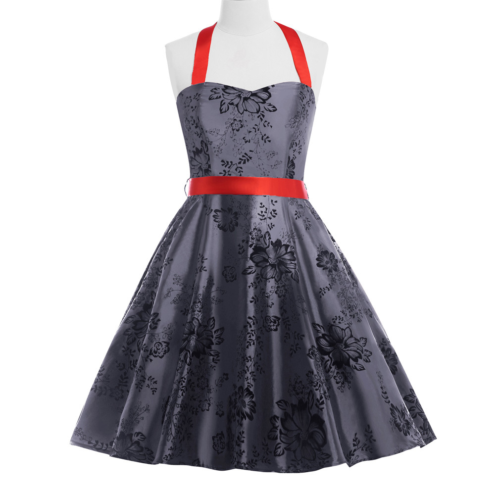 6dc60f1b639 Get Quotations · 2015 Robe women printed 50s 60s 40s gray Retro Vintage  Halter N T Taffeta dress