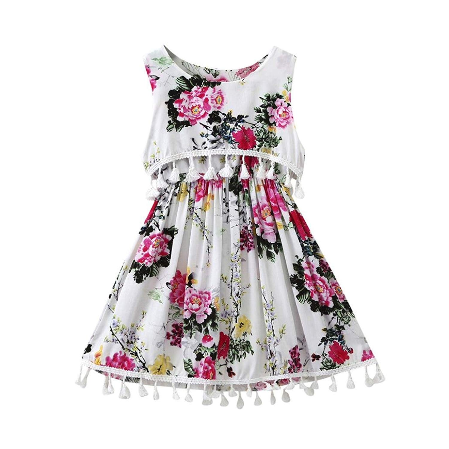 TiTCool Little Girls Summer Vintage Dress, Sleeveless Ethnic Style Tassel Flower Printed Dress Skirt Size 1-4T